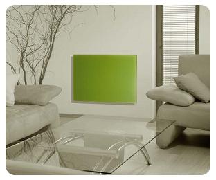 Grüne Infrarot- Glasheizung im Innenbereich z.B. Wohnzimmer oder Büro.